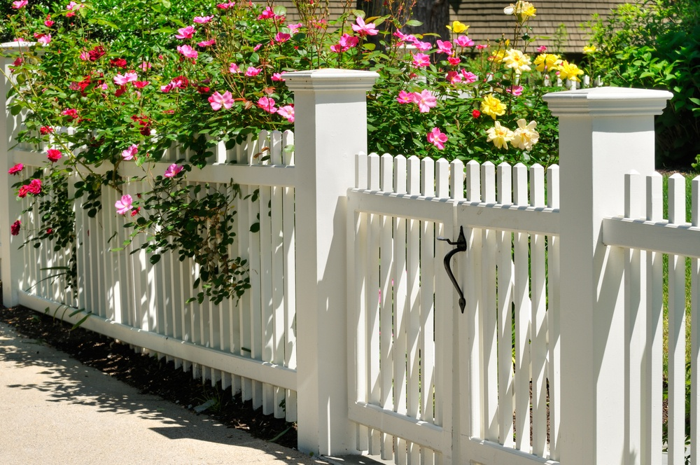 A white vinyl fence draped with pink flowers.